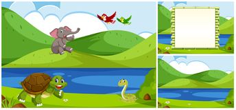 Set of nature background. Illustration vector illustration