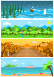 Set of nature backgrounds and landscapes with different seasons. Royalty Free Stock Photography