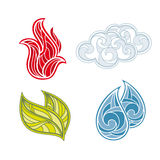 Set of nature elements. Abstract  icon set of nature elements Stock Photography