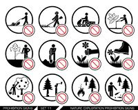 Set of nature exploitation and cultivation prohibition signs. Collection of prohibition signs. Signs prohibiting exploitation, pollution and work on green Royalty Free Stock Photography