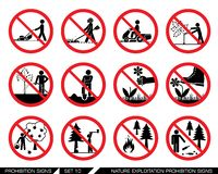 Set of nature exploitation and cultivation prohibition signs. Collection of prohibition signs. Signs prohibiting exploitation, pollution and work on green Royalty Free Stock Image