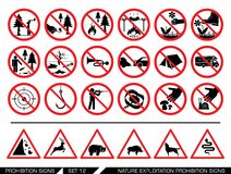 Set of nature exploitation prohibition signs. Collection of prohibition signs. Exploitation of nature banned. National Parks are protected areas Stock Photography