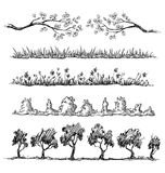 Set of nature hand drawn dividers Stock Photos