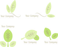 Set of nature icons: Leaves (II). Set of five soft-colored (green) nature/leaf icons for logo design, etc Stock Image