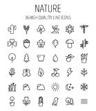 Set of nature icons in modern thin line style. High quality black outline leaves and trees symbols for web site design and mobile apps. Simple linear nature Royalty Free Stock Photography