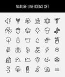 Set of nature icons in modern thin line style. High quality black outline leaves and trees symbols for web site design and mobile apps. Simple linear nature Stock Photography