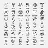 Set of nature icons in modern thin line style. Stock Photography