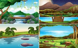 Set of nature landscape stock illustration