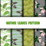 Set of nature leaves seamless pattern for decorative,apparel,fashion,fabric,textile,print or wallpaper. Vector illustration stock illustration