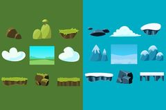Set of nature materials for mobile arcade game. Blocks with snow and grass, clouds, stones, bridge, mountains, hill with Royalty Free Stock Image