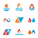 Set of nature power symbols, composition of water and fire eleme. Nts. Vector illustrations for use in advertising Royalty Free Stock Photo