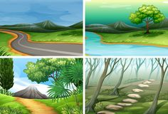 Set of nature scenes royalty free stock photos