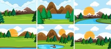 Set of nature scenes. Illustration royalty free illustration