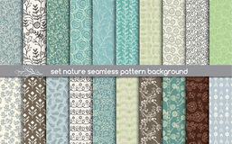 Set nature seamless patterns. pattern swatches included for illustrator user