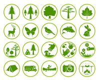 Set of nature signs. Collection of forest and parks signs. Camping in nature. Eco tourism icons royalty free illustration