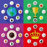 Set of nature, sports, food and drinks concepts. Flat design Royalty Free Stock Photo