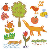 Set of  nature symbols and animals Royalty Free Stock Photos