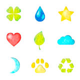 Set of nature symbols icons Stock Image