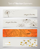 Set of nature web headers. Vector art Stock Image