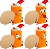 Set of naughty book as Santa Claus with a big sack Stock Image