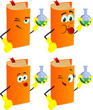 Set of naughty book scientist holds beaker of chemicals Stock Photography