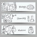 Set nauka sztandary Obrazy Stock