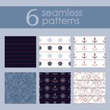 Set of 6 nautical backgrounds in dark blue, light blue, red and white colors. vector illustration