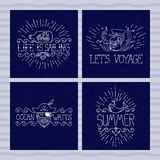 Set of nautical banners. Pirate, captain, whale, ship in a bottle. Summer labels with quotes. Brutal style. Sketch art.