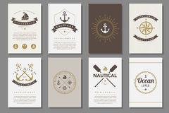 Set of  nautical brochures in vintage style Royalty Free Stock Image