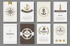 Set of  nautical brochures in vintage style Royalty Free Stock Photography