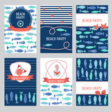 Set of 6 Nautical cards. Set of 6 summer holiday, sea vacation, ocean trip backgrounds.  Marine card template. Vector illustration Royalty Free Stock Images
