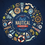 Set of Nautical cartoon doodle objects, symbols and items Stock Photography
