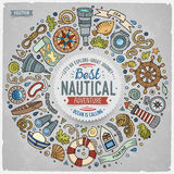 Set of Nautical cartoon doodle objects, symbols and items Royalty Free Stock Photos