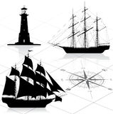 Set of nautical design elements vector illustration
