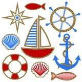 Set of nautical design elements. Anchor, steering wheel, compass, fish, seashells, sailboat, ribbons circled the rope. Vector illustration stock illustration