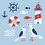 Set of nautical design elements. Anchor,  wheel, fish, lifebuoy, lighthouse, seagulls, wave. Cartoon nautical icons. Cute sea objects collection. Hand drawn Royalty Free Stock Photos