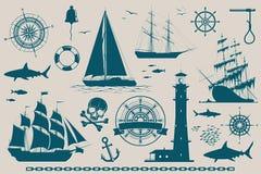 Set of nautical design elements Royalty Free Stock Photography