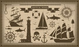 Set of nautical design elements,  vector EPS10 Royalty Free Stock Photo