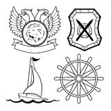 Set of nautical design elements Royalty Free Stock Photo