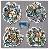 Set of Nautical doodle cartoon stickers. Vector objects and symbols collection. Label design elements. Cute patches, pins, badges series. Comic style Royalty Free Stock Photography