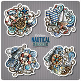 Set of Nautical doodle cartoon stickers. Vector objects and symbols collection. Label design elements. Cute patches, pins, badges series. Comic style Royalty Free Stock Image