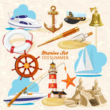 Set of nautical elements Stock Images