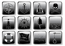 Set of Nautical Icons Stock Photo