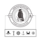 Set of Nautical Icons for Badges in Vintage Style Royalty Free Stock Images