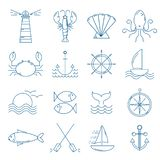 Set of nautical icons in modern thin line style. stock images