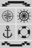Set of nautical icons and ribbons. Flat design. Stock Images