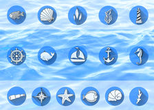 Set of nautical icons Royalty Free Stock Images