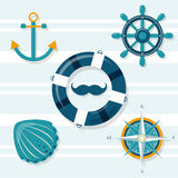 Set of 5 nautical illustrations Royalty Free Stock Images
