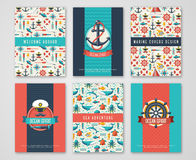 Set of Nautical and Marine Banners and Flyers. Stock Image