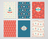 Set of Nautical and Marine Banners and Flyers. Royalty Free Stock Photography
